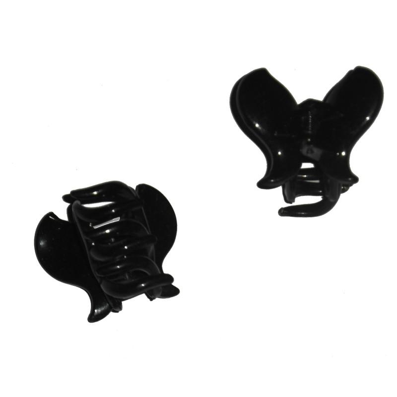 Petite pince crabe noire, forme papillon, 3 cm