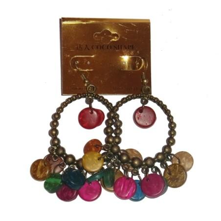 Boucles d'oreilles colorée, en métal et bois