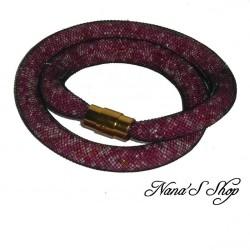 Collier résille tubulaire noire, perles de rocailles tons rose