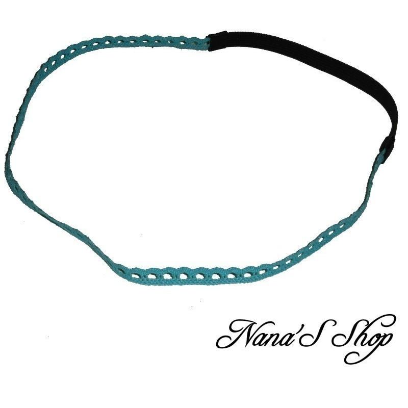 Headband en dentelle, bleu lagon