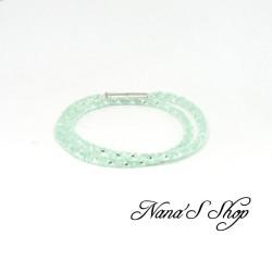 Bracelet double / collier, fine résille blanche, stardust