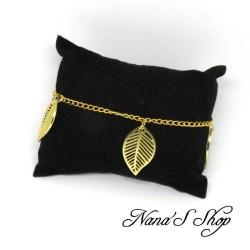 Chaine de cheville, feuilles, doré.