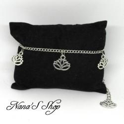 Chaine de cheville, fleur de lotus, or ou argent