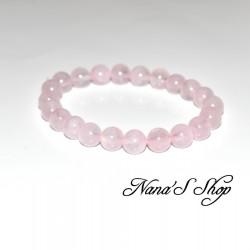 Bracelet élastique, en quartz rose 8 mm