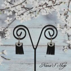 Boucles d'oreilles franges, noire et argenté