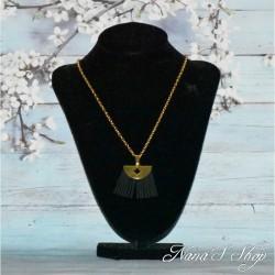 Chaine sautoir dorée, pendentif frange suédine
