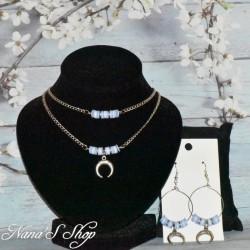 Parure, perles Heishi et corne demi lune, modèle 2