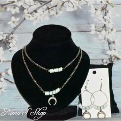 Parure, perles Heishi et corne demi lune, modèle 3