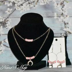 Parure, perles Heishi et corne demi lune, modèle 4