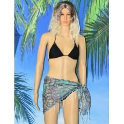 Foulard motif colorés à franges,