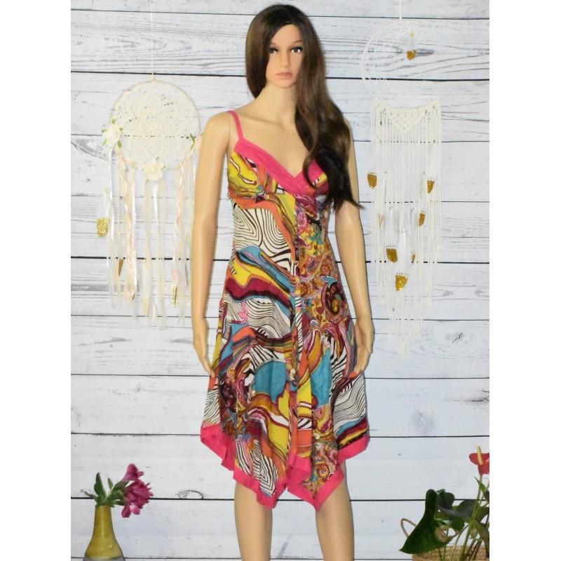 Robe asymétrique en voile de coton, colorée