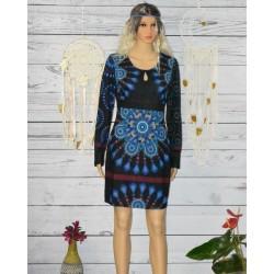 Robe tunique imprimé 101 idées, bleu