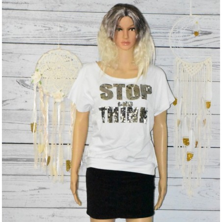 T-shirt large à Sequins, Stop and think,