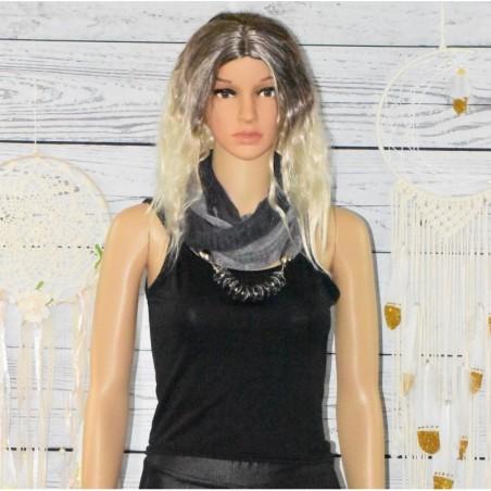 Foulard bijoux, tour de cou, perles plates,