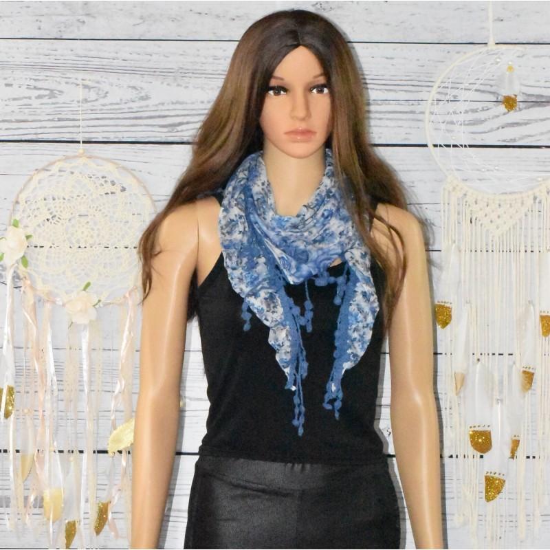 Foulard motif fleurs, réversible,