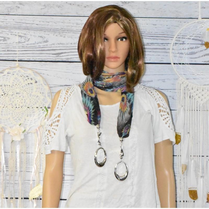 Foulard bijoux, motif plume de paon,