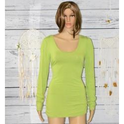 Tunique manches longues, froncé, vert pomme,