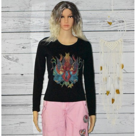 T-shirt manches longues, impressions et strass,