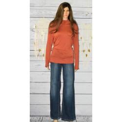 Jeans large, détail orange, School Rag.
