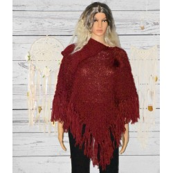 Poncho Pompon, rouge,