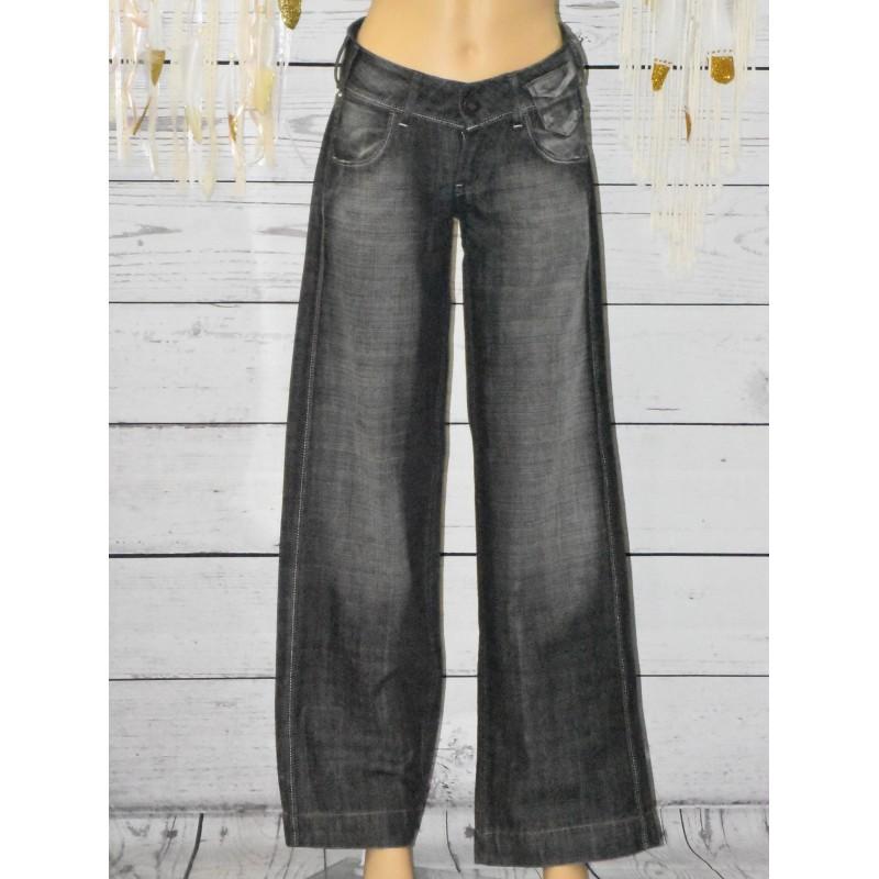 Jeans gris, Taille basse, School Rag,