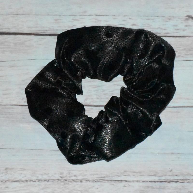 Chouchou noir , à pois, toucher satin