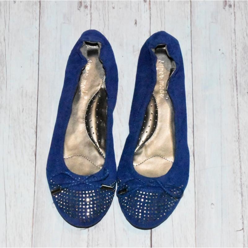Ballerines en velours, Bleu royal