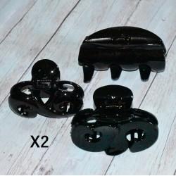 Blister de 6 Pinces crabe noire, différentes formes