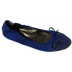 Ballerines en velours, Bleu royal