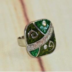 Bague émail forme carré verte, frise maya