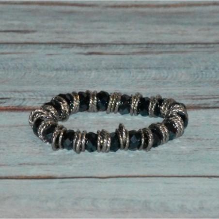 Bracelet en cristal et anneaux métallique