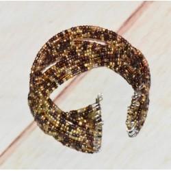 Bracelet manchette rigide, perles de rocaille,
