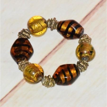 Bracelet fantaisie, perles en verre jaune, ocre et noir