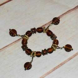 Bracelet vintage, marron à breloques