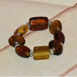 Bracelet jaune et marron, grosse perles en verre,