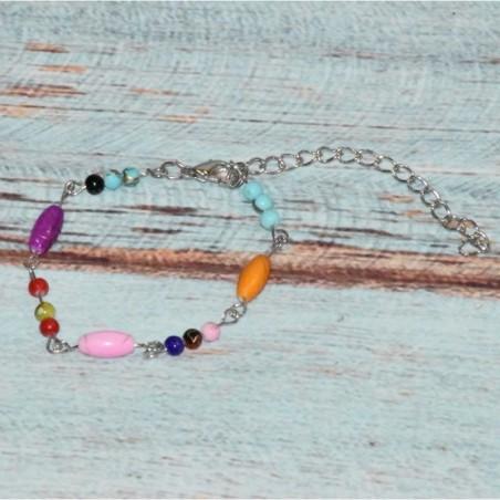 bracelet en métal et perles colorées,