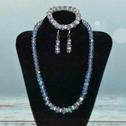 Parure en cristal, collier, bracelet et boucles
