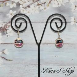 Boucles d'oreilles cabochons colorées, Motif ethnique.