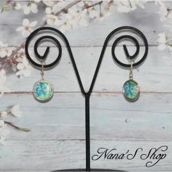 Boucles d'oreilles cabochons colorées, Paisley fleuris.