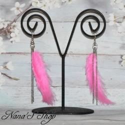 B.O plumes rose et chaînettes