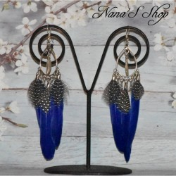 Boucles d'oreilles goutte, plume bleu royal