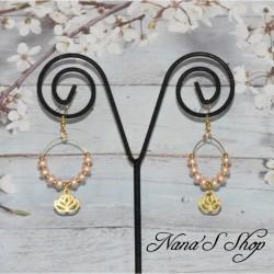 Boucles d'oreilles Créoles Lotus, argentées ou dorées