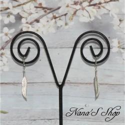 Boucles d'oreille plume en métal,
