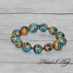 Bracelet en perles fimo, couleur et or