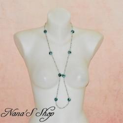 Long collier en perles de rocaille et fimo, couleur vive