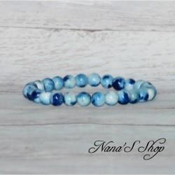 Bracelet 8mm Jadéite et néprhite dégradé bleu