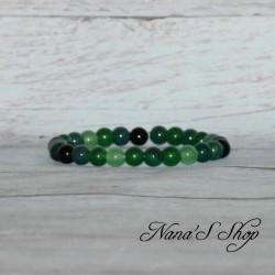 Bracelet élastique, agate dégradé vert & noir,